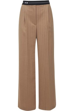 Msgm Pinstriped Wool Blend Pants