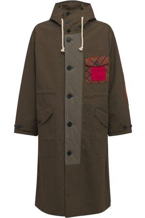 J.W.Anderson Men Parkas - Long Water Resistant Cotton Parka Coat