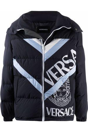 VERSACE Men Puffer Jackets - Logo-print puffer jacket