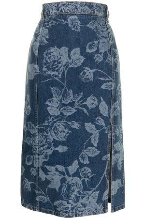 Msgm Floral-print midi denim skirt