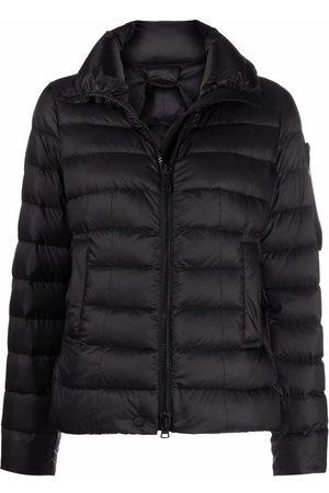 Peutery Women Puffer Jackets - Logo patch zip-up padded jacket