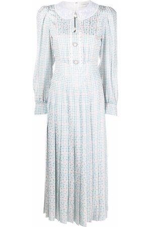 Alessandra Rich Women Maxi Dresses - Houndstooth-check maxi dress