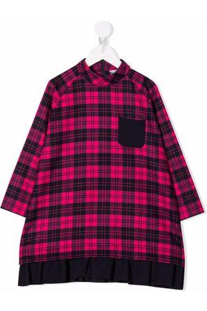 Il gufo Girls Printed Dresses - Check-print midi dress