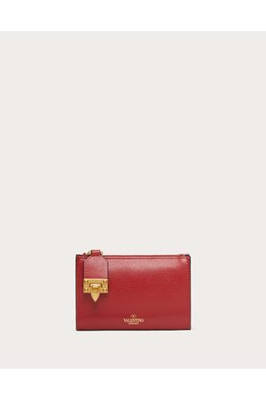 VALENTINO GARAVANI Women Purses - Rockstud Zipper Coin Purse And Cardholder In Grainy Calfskin Leather Women Rouge Pur 100% Pelle Di Vitello - Bos Taurus OneSize