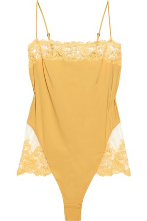 La Perla Woman Rugiada Jersey And Embroidered Tulle Bodysuit Marigold Size 1