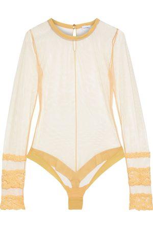 La Perla Woman Rugiada Embroidered Stretch-tulle Thong Bodysuit Marigold Size 3