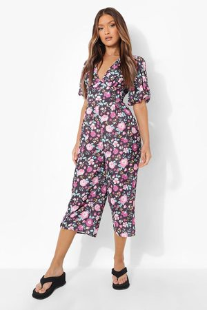 Boohoo Women Jumpsuits - Womens Floral Puff Sleeve Cullotte Jumpsuit - - 4