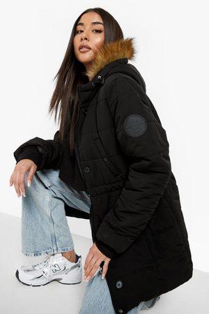 Boohoo Womens Faux Fur Trim Sporty Parka - - 4