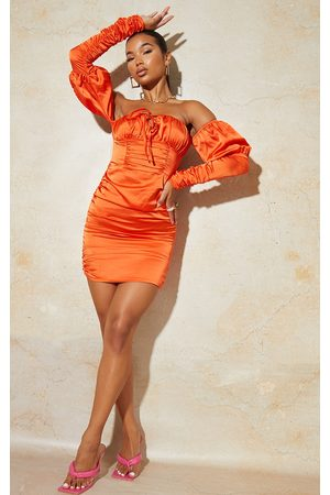 PRETTYLITTLETHING Satin Tie Front Ruched Sleeve Bodycon Dress