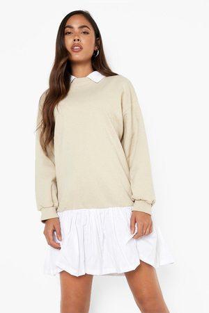 Boohoo Women Casual Dresses - Womens Collared Cotton Poplin Hem Sweater Dress - - 6