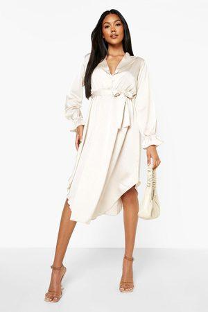Boohoo Women Casual Dresses - Womens Ruffle Sleeve Dip Hem Shirt Dress - - 4