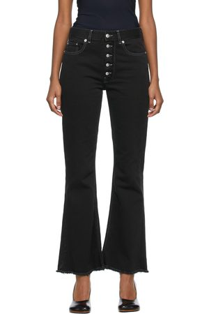 MM6 MAISON MARGIELA Black Flared Exposed Button Jeans