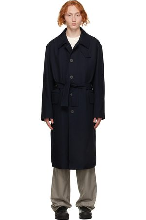 Solid Navy Minimal Wool Trench Coat