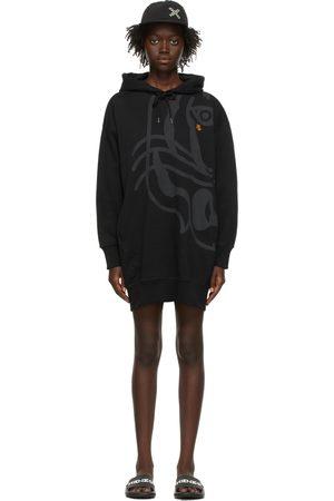 Kenzo Black K-Tiger Hooded Sweater Dress