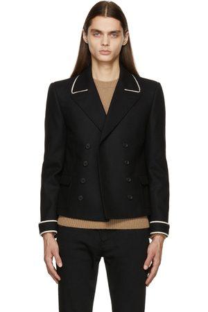 Saint Laurent Men Blazers - Black Flannel Spencer Jacket