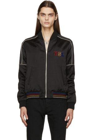 Saint Laurent Men Fleece Jackets - Black Logo Teddy Bomber Jacket
