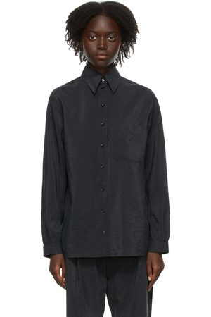 LEMAIRE Women Shirts - Grey Silk Pointed Collar Shirt