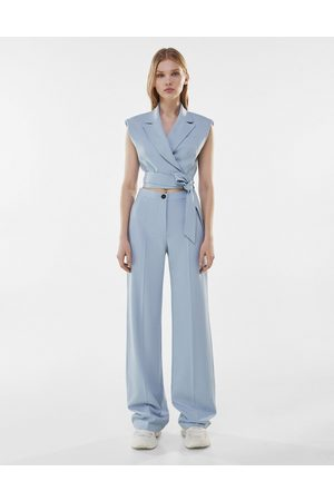 Bershka Recycled polyester wide leg dad relaxed tailored pants in blue-Blues