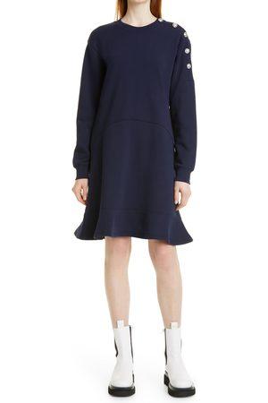 Derek Lam Women's Camden Sailor Button Long Sleeve Cotton Fleece Dress