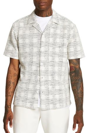 River Island Men's Texture Check Reverse Short Sleeve Cotton Button-Up Camp Shirt