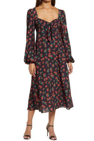 Fourteenth Place Women's Puff Long Sleeve Tie Front Dress
