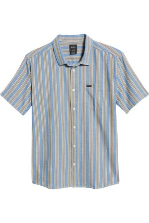 RVCA Men's Harbour Stripe Short Sleeve Chambray Button-Up Shirt