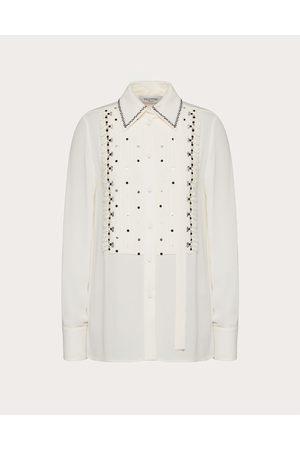 VALENTINO Women Shirts - Embroidered Georgette Shirt Women Ivory/ 100% Silk 36