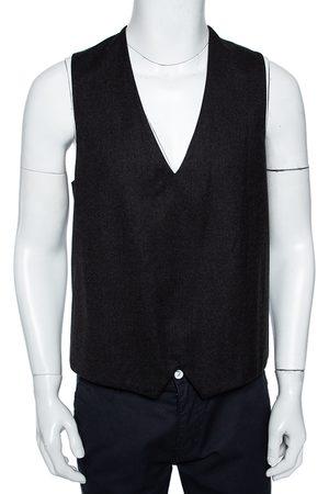 Emporio Armani Men Waistcoats - Charcoal Grey Wool Matt Line Tuxedo Vest L