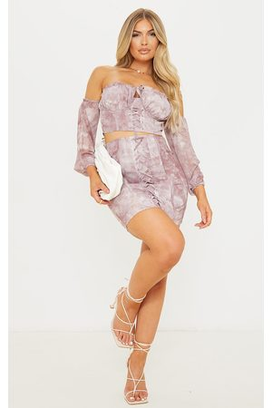 PRETTYLITTLETHING Women Party Dresses - Mauve Tie Dye Lace Up Front Mini Skirt
