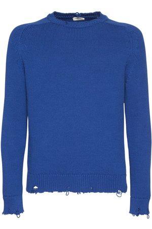 Saint Laurent Distressed Cotton Knit Sweater