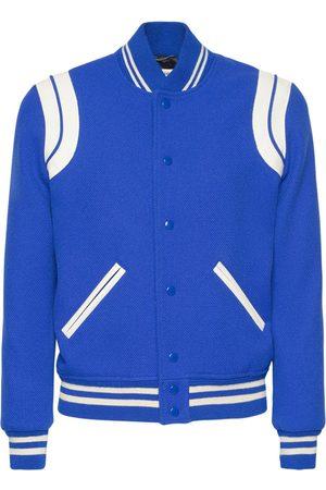 Saint Laurent Men Fleece Jackets - Wool Blend Teddy Varsity Jacket