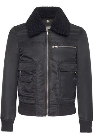Saint Laurent Men Leather Jackets - Nylon Aviator Jacket / Shearling Collar