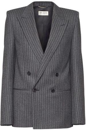 SAINT LAURENT Striped Double Breast Wool Blazer
