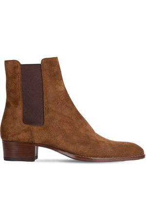 Saint Laurent Wyatt 40 Suede Chelsea Boots