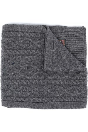 Parajumpers Logo-patch cable-knit scarf - Grey