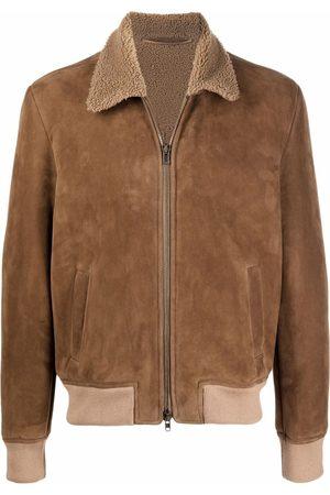 SALVATORE SANTORO Men Leather Jackets - Shearling-trimmed leather jacket - Neutrals