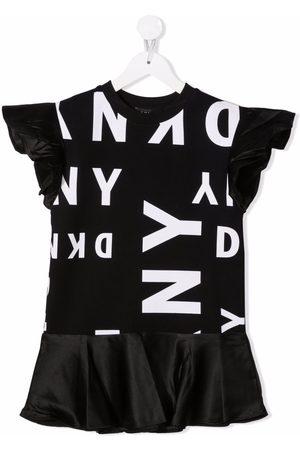 DKNY Girls Printed Dresses - Logo-print short T-shirt dress