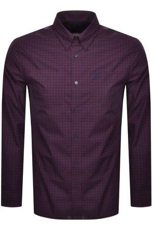 Fred Perry Men Shirts - Gingham Check Shirt Mahogany
