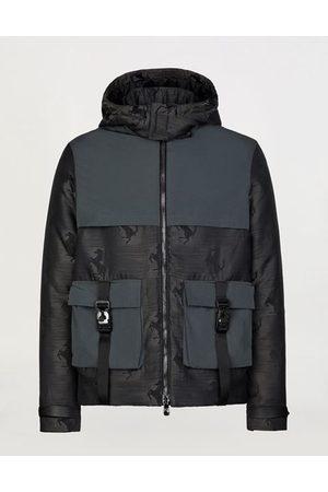 FERRARI STORE Men Ponchos & Capes - Padded jacquard bomber jacket with nylon cape