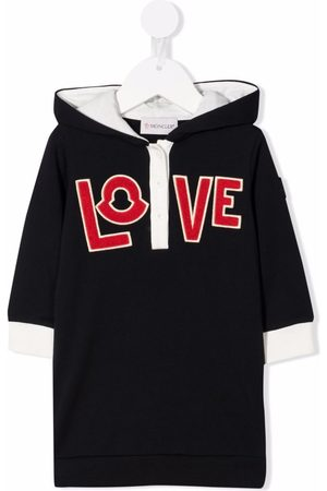 Moncler Baby Casual Dresses - Slogan-embroidered hooded dress