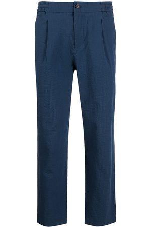 SHANGHAI TANG Men Skinny Pants - Seersucker slim-fit trousers