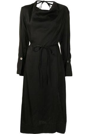 EUDON CHOI Draped satin-effect midi dress