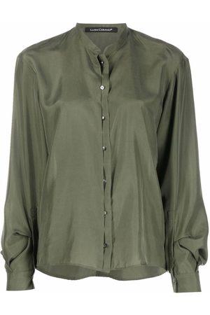 Luisa Cerano Women Shirts - Band-collar silk shirt