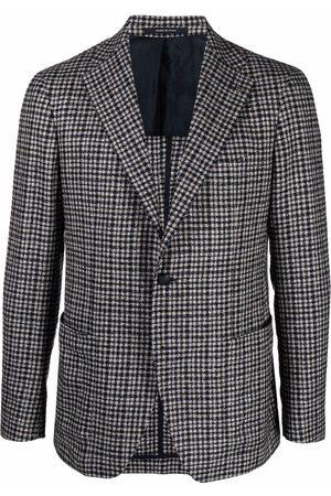 TAGLIATORE Men Blazers - Check-print single-breasted blazer - Grey