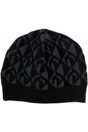 Marine Serre Men Beanies - Crescent moon-print beanie hat