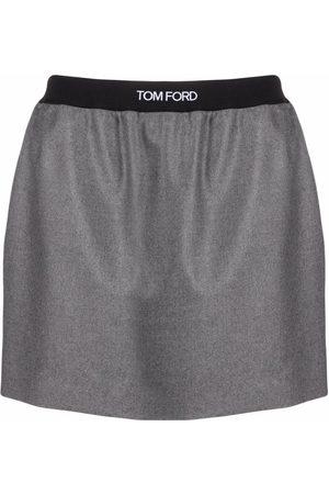Tom Ford Logo-waistband miniskirt - Grey