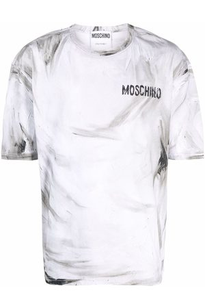Moschino Painterly-print logo T-shirt - Grey