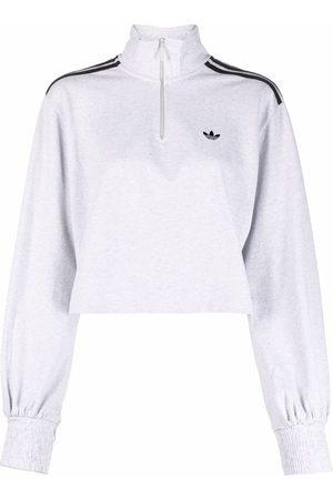 adidas Women Sweatshirts - Embroidered-logo cropped sweatshirt - Grey