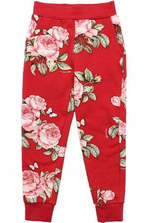 MONNALISA Roses Print Cotton Sweatpants