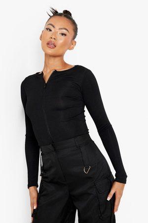 Boohoo Womens Zip Front Long Sleeve Rib Top - - 2
